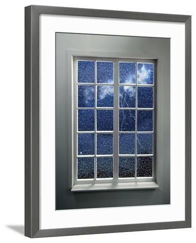 Modern Residential Window with Lightning and Rain Behind-ilker canikligil-Framed Art Print