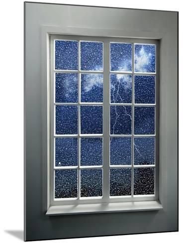 Modern Residential Window with Lightning and Rain Behind-ilker canikligil-Mounted Art Print