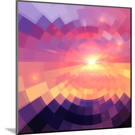 Magic Sunset in Abstract Stained Glass-art_of_sun-Mounted Art Print