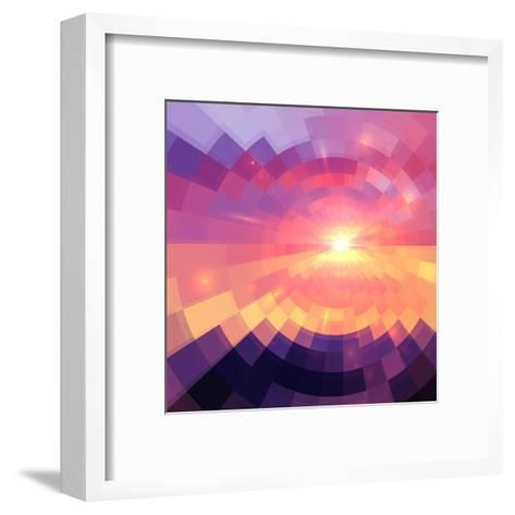 Magic Sunset in Abstract Stained Glass-art_of_sun-Framed Art Print