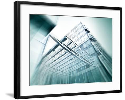 Panoramic and Perspective Wide Angle View to Steel Blue Background of Glass High Rise Building-Vladitto-Framed Art Print