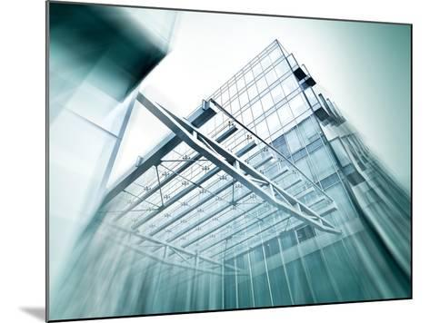 Panoramic and Perspective Wide Angle View to Steel Blue Background of Glass High Rise Building-Vladitto-Mounted Art Print