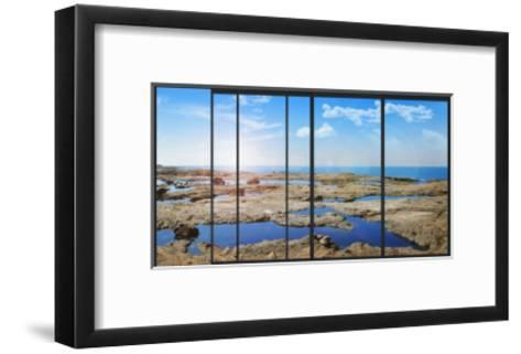 Panoramic Modern Window with a Stones and Sea Landscape- Whiteisthecolor-Framed Art Print