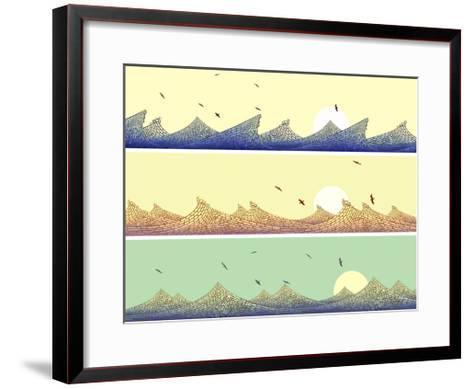 Horizontal Banner: Mosaic of Wave with Foam-Vertyr-Framed Art Print