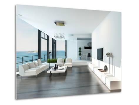 Luxury Living Room Interior with White Couch and Seascape View-PlusONE-Metal Print