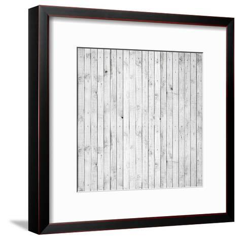 Background Texture of Old White Painted Wooden Lining Boards Wall-Eugene Sergeev-Framed Art Print