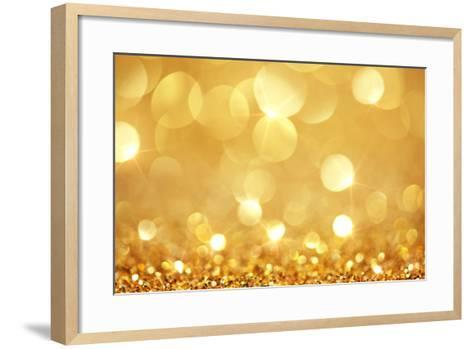 Shiny Golden Lights-SSilver-Framed Art Print