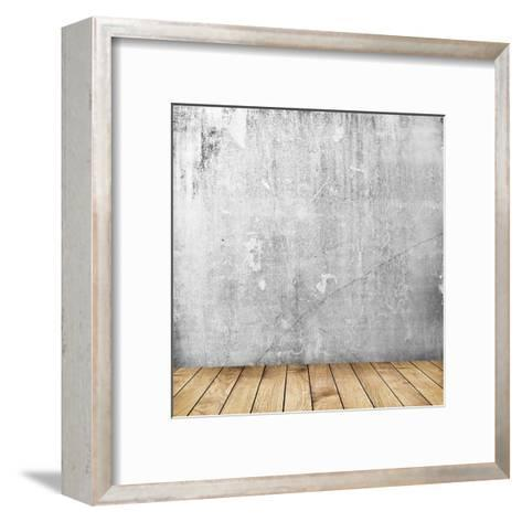 Empty Interior of Vintage Room with Grey Grunge Stone Wall and Old Wooden Floor-Olegkalina-Framed Art Print
