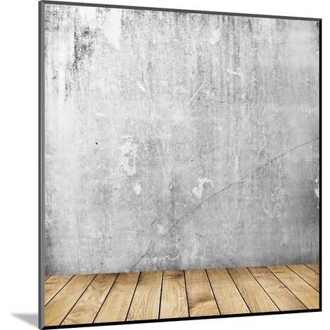 Empty Interior of Vintage Room with Grey Grunge Stone Wall and Old Wooden Floor-Olegkalina-Mounted Art Print