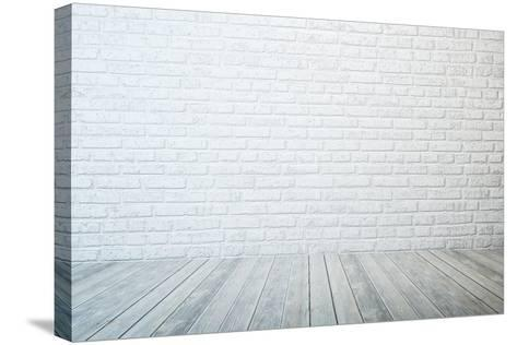Empty Room with White Brick Wall and Wooden Floor-auris-Stretched Canvas Print