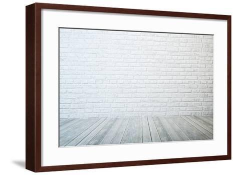 Empty Room with White Brick Wall and Wooden Floor-auris-Framed Art Print