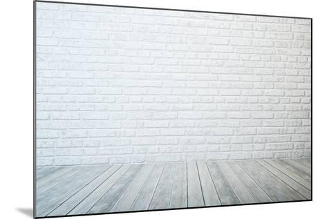 Empty Room with White Brick Wall and Wooden Floor-auris-Mounted Art Print