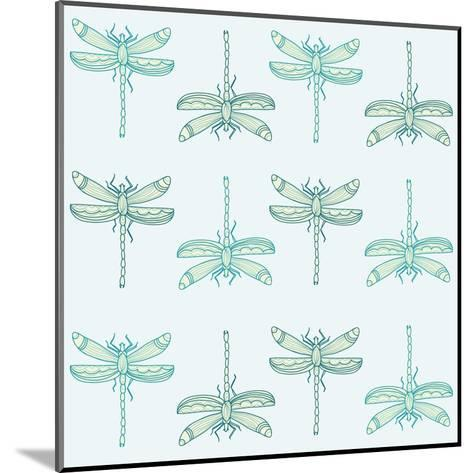 Teal Pattern with Dragonflies- ameu-Mounted Art Print