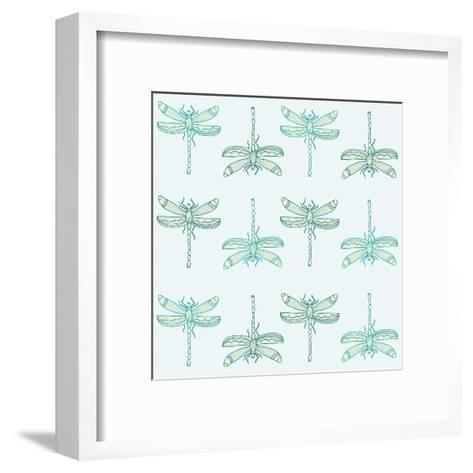 Teal Pattern with Dragonflies- ameu-Framed Art Print