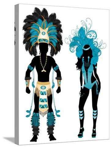 Carnival Blue Couple-BasheeraDesigns-Stretched Canvas Print