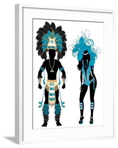 Carnival Blue Couple-BasheeraDesigns-Framed Art Print