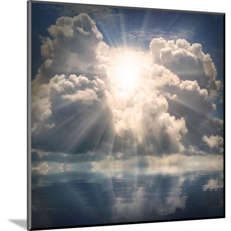 The Sun on Dramatic Sky over Sea-Kletr-Mounted Art Print