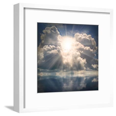 The Sun on Dramatic Sky over Sea-Kletr-Framed Art Print