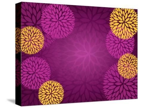 Purple Gold Abstract Flower Background- pandamanda827-Stretched Canvas Print