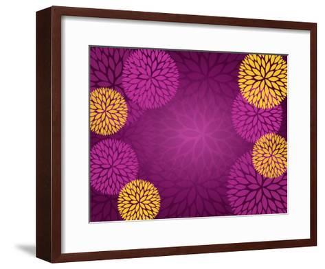 Purple Gold Abstract Flower Background- pandamanda827-Framed Art Print