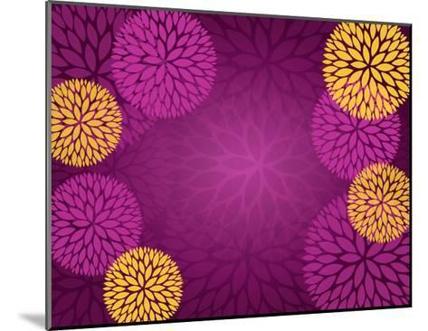 Purple Gold Abstract Flower Background- pandamanda827-Mounted Art Print
