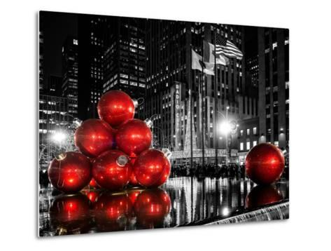 The Giant Christmas Ornaments on Sixth Avenue across from the Radio City Music Hall by Night-Philippe Hugonnard-Metal Print