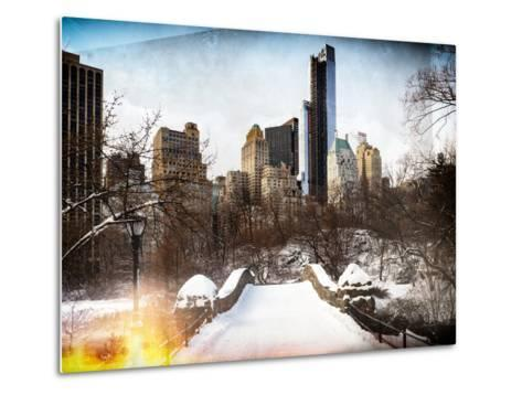 Instants of NY Series - Snowy Gapstow Bridge of Central Park, Manhattan in New York City-Philippe Hugonnard-Metal Print