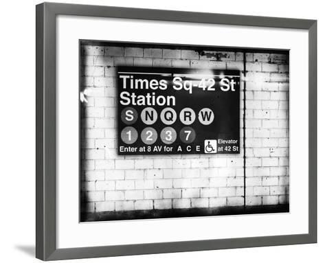 Subway Times Square - 42 Street Station - Subway Sign - Manhattan, New York City, USA-Philippe Hugonnard-Framed Art Print