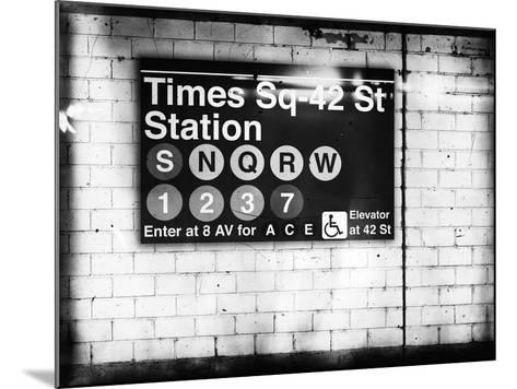Subway Times Square - 42 Street Station - Subway Sign - Manhattan, New York City, USA-Philippe Hugonnard-Mounted Giclee Print