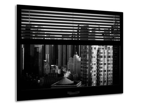 Window View with Venetian Blinds: Skyline of Times Square-Philippe Hugonnard-Metal Print
