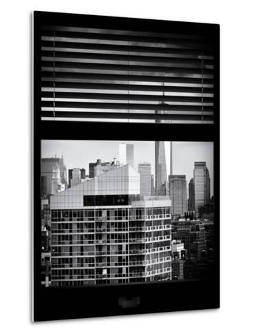 Window View with Venetian Blinds: Cityscape Manhattan with One World Trade Center (1 WTC)-Philippe Hugonnard-Metal Print