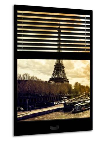 Window View with Venetian Blinds: the Eiffel Tower and Seine River Views at Sunset - Paris, France-Philippe Hugonnard-Metal Print