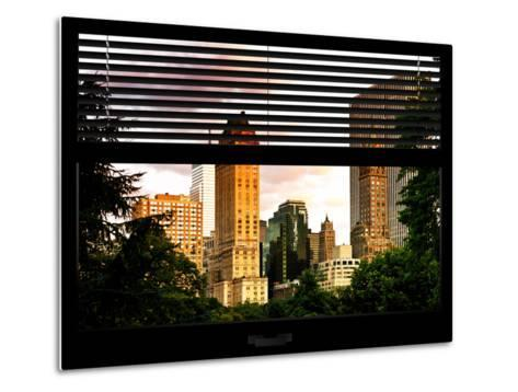 Window View with Venetian Blinds: View of Buildings along Central Park at Sunset-Philippe Hugonnard-Metal Print