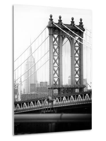 Manhattan Bridge with the Empire State Building from Brooklyn Bridge-Philippe Hugonnard-Metal Print