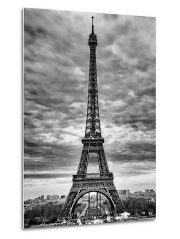 Eiffel Tower, Paris, France - Black and White Photography-Philippe Hugonnard-Metal Print
