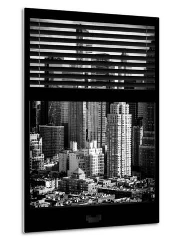 Window View with Venetian Blinds: Theater District and Times Square - Manhattan-Philippe Hugonnard-Metal Print