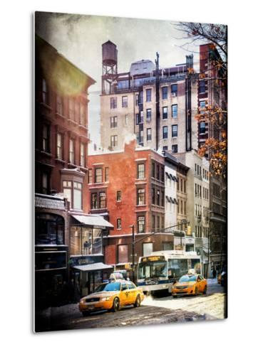Instants of NY Series - Urban Street Scene with Yellow Taxi in Winter-Philippe Hugonnard-Metal Print