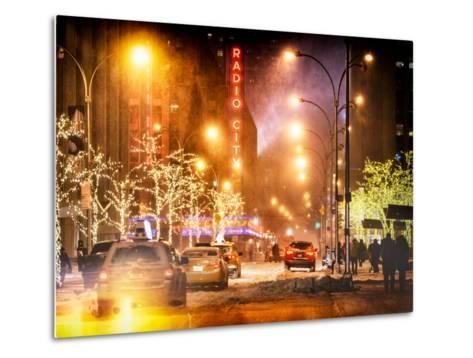 Instants of NY Series - Street Scenes and Urban Night Landscape in Winter under the Snow-Philippe Hugonnard-Metal Print