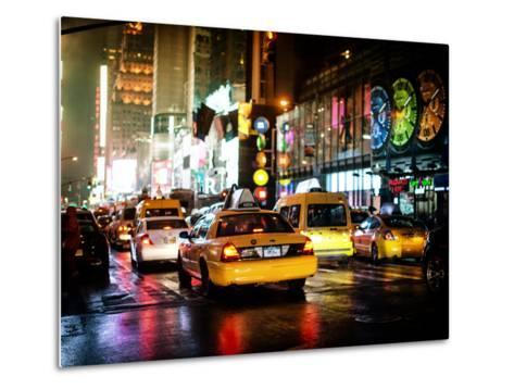 Yellow Cab on 7th Avenue at Times Square by Night-Philippe Hugonnard-Metal Print