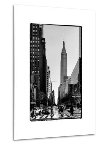 Urban Street Scene with the Empire State Building in Winter-Philippe Hugonnard-Metal Print