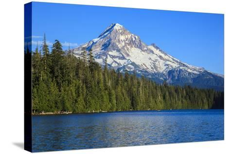 USA, Oregon, Mt. Hood National Forest, boaters enjoying Lost lake.-Rick A^ Brown-Stretched Canvas Print