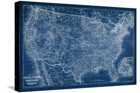 US Map Blueprint-Vision Studio-Stretched Canvas Print