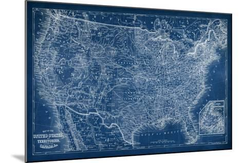 US Map Blueprint-Vision Studio-Mounted Art Print