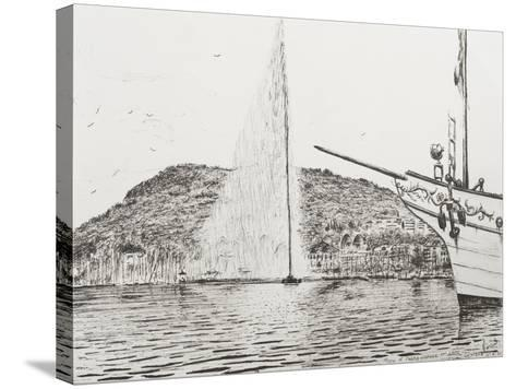 Geneva, Fountain and Bow of Pleasure Boat-Vincent Booth-Stretched Canvas Print