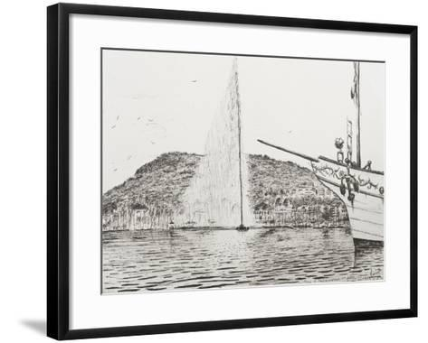 Geneva, Fountain and Bow of Pleasure Boat-Vincent Booth-Framed Art Print