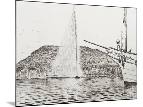 Geneva, Fountain and Bow of Pleasure Boat-Vincent Booth-Mounted Giclee Print