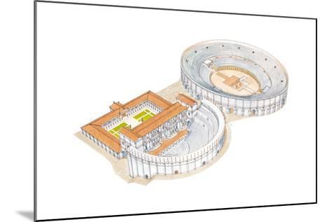 Roman Theatre and Amphitheatre, Reconstruction, Merida, Spain-Fernando Aznar Cenamor-Mounted Giclee Print