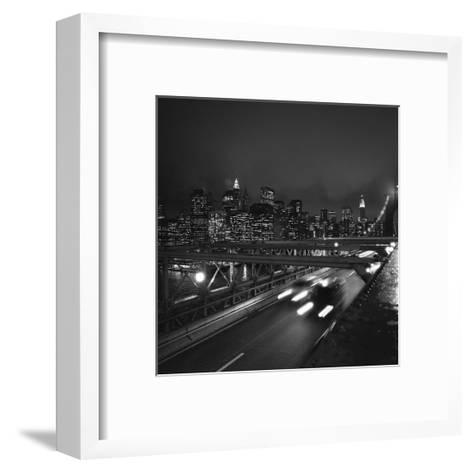 Brooklyn Bridge Traffic with Manhattan View at Night-Henri Silberman-Framed Art Print