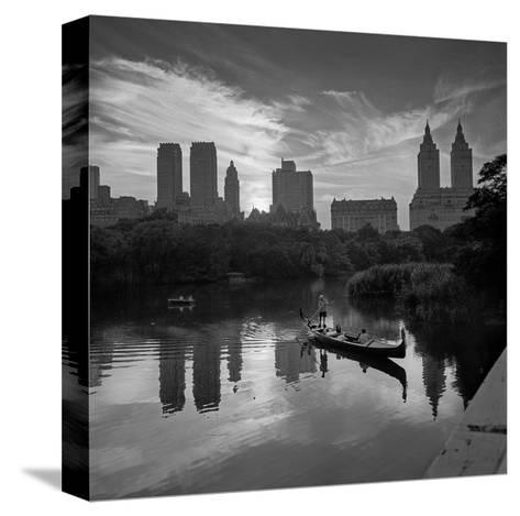 Gondolier Central Park at Dusk-Henri Silberman-Stretched Canvas Print