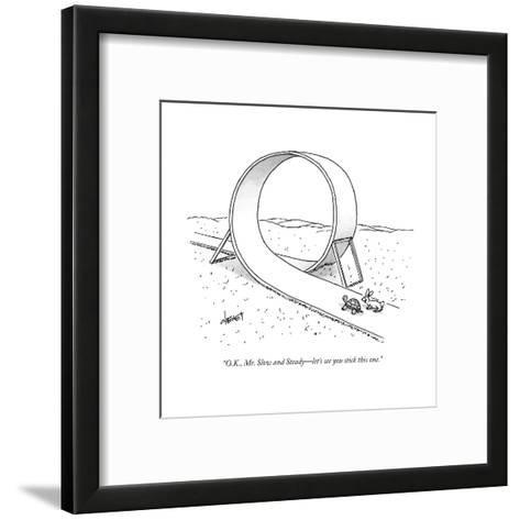 """O.K., Mr. Slow and Steady?let's see you stick this one."" - New Yorker Cartoon-Tom Cheney-Framed Art Print"